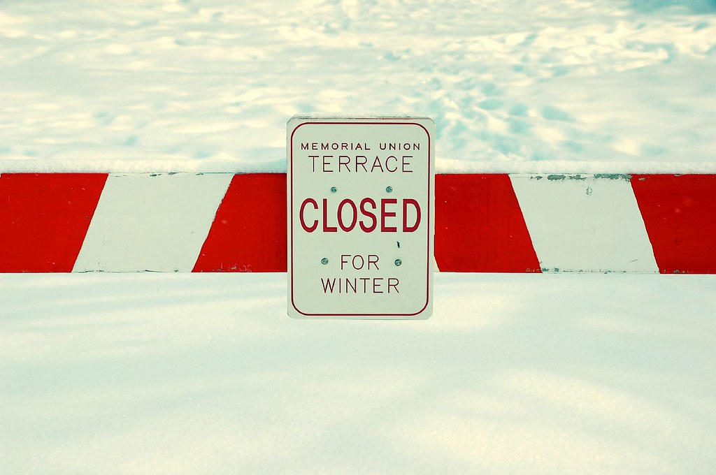 Sign saying closed for winter used in relation to our final freeze before release