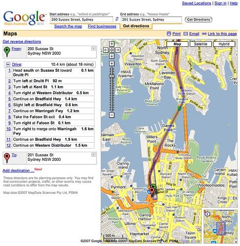 Google Maps Australia 18 minutes