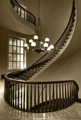 Spiral Staircase Sepia (sunsurfr) Tags: wood windows monochrome sepia architecture stairs spiral lights interestingness capital alabama structure molding explore historical montgomery marble d200 banister railing hdr spiralstaircase spiralstairs photomatrix superaplus aplusphoto ultraselected sunsurfr