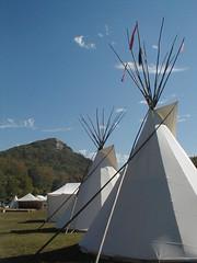 teepees (enveehaze) Tags: festival littlerock indian tent celebration nativeamerican arkansas tribe pinnaclemountain reenactment tipi teepees rendevous pinnaclemountainrendevous photofaceoffwinner pfosilver 9709sh12 msh0312 msh031215