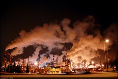 Refinery Night (A guy with A camera) Tags: canada cold industry night nikon flickr industrial edmonton smoke steam alberta oil environment refinery climatechange warming global petroleum refineries refining crudeoil petrochemicals d80 nikonstunninggallery anawesomeshot