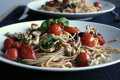Pasta (Elina Innanen) Tags: food vegan healthy herbs walnut pasta vegetarian olives basil spaghetti pesto wholewheat