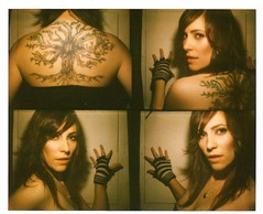 mugshots (blackmoonbobo) Tags: tree fashion tattoo vintage austin polaroid design soft photobooth action gloves 80s mugshots leyla alecia