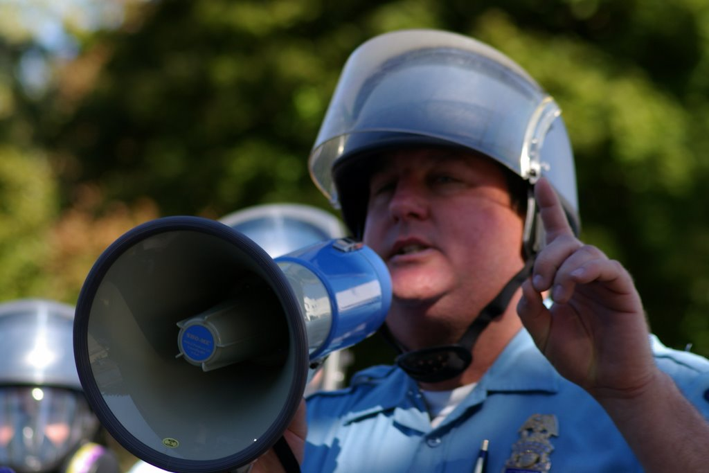 Unidentified Toledo police officer during 2005 North Toledo riot