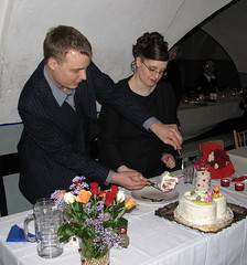Eemeli and Saija cutting the wedding cake