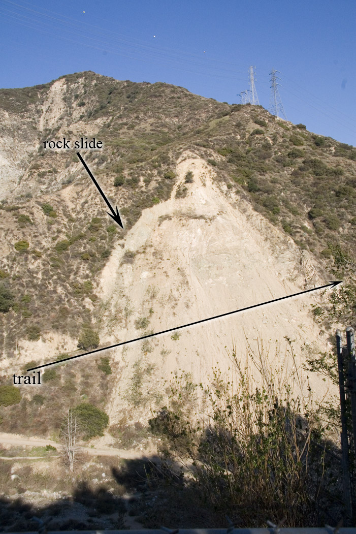 Rock slide near Pasadena