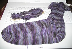 one finished ruffled sock