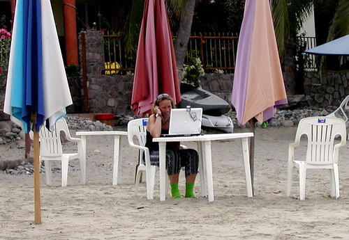 Multi-tasking on the beach