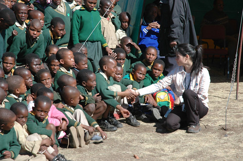 Lucy Liu visits children in Lesotho