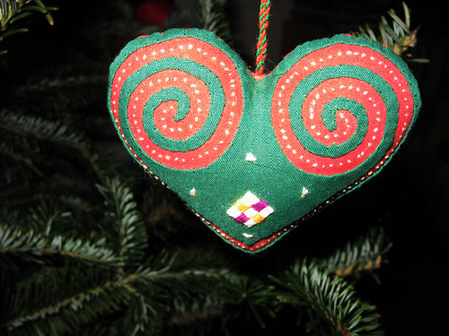 Red and Green Cutwork Heart