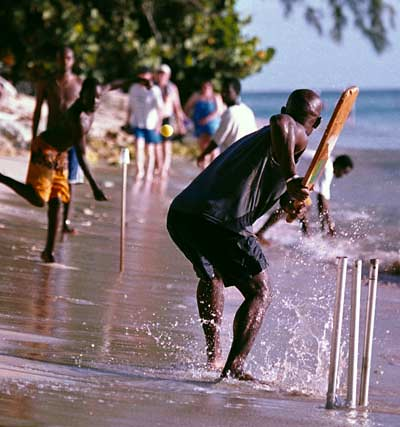 Cricket on a beach in the Caribbean