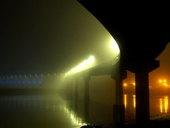 Big Dam Bridge in fog (cormack13) Tags: fog night littlerock arkansas arkansasriver bigdambridge weeklyfav07 weeklyfav07best excellentafterdark