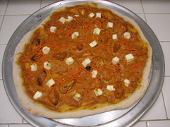 Chicken makhani paneer carrot pizza