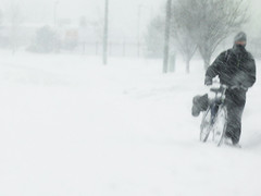 The Bicyclist (Rebecca Lehmann) Tags: winter snow cold ice bike bicycle colorado snowy snowstorm freezing windy denver freeze biker bicyclist snowing icy blizzard frigid blustery