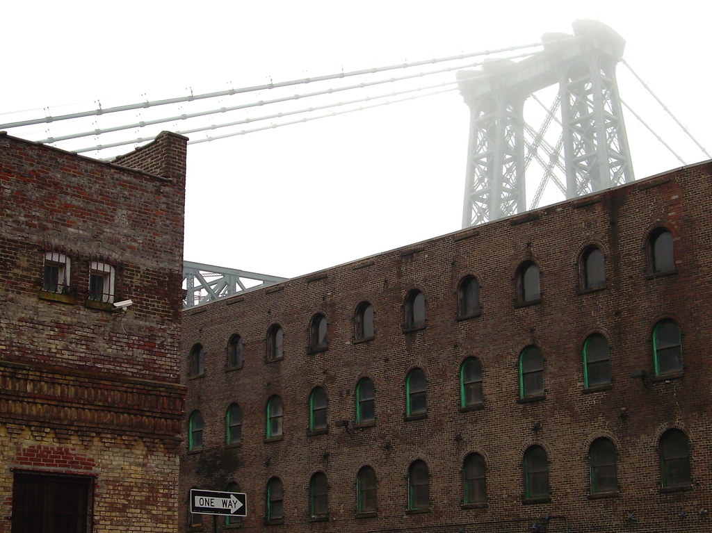 bridge and warehouse, williamsburg