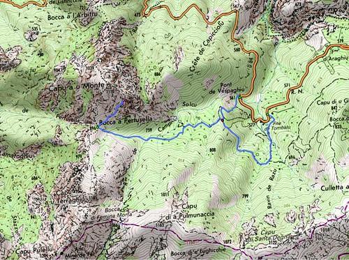 Carte du parcours du Capu a u Monte