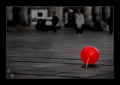 Red Balloon (Selective coloring) (lilcrazyfuzzy) Tags: red bw white black color monochrome d50 germany stuttgart balloon coloring selective sigma70200 sigma7020028apoexhsm nikonstunninggallery abigfave