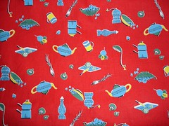 red kitchen fabric