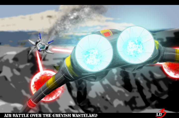 DSG 1184: Sci-Fi:AIR BATTLE OVER THE GREYISH WASTELAND (p.o.v.=FROM BEHIND AGGRESSOR)