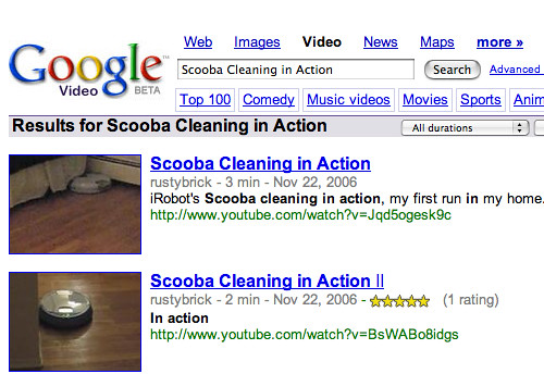 Google Video Search with Scooba YouTube Results