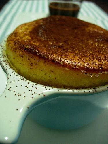 Vanilla souffle w/ chocolate sauce
