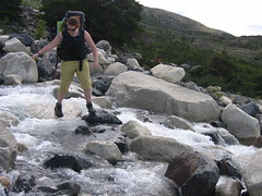 Amanda crossing stream