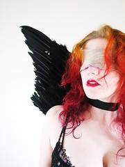 danger (Foxtongue) Tags: selfportrait love wings noflash pop creativecommons valentines lipstick cupid jhayne choker blindfold blackwings flickrexplore onlysunlight dreampepper