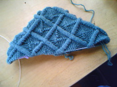 Cable Entrelac Hat WIP Side View
