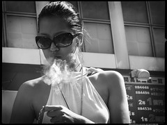 Moment-of-Smoke (Danz in Tokyo) Tags: leica people bw white black girl japan japanese tokyo interestingness asia candid smoke puff smoking  nippon  fz30 exhale topv11 danz topv22 danzintokyo candidat70mm