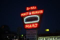2-ms malt n burger mart neon sign at night