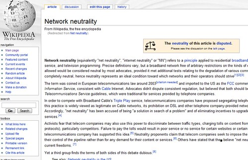 Neutrality of Net Neutrality article on Wikipedia under dispute