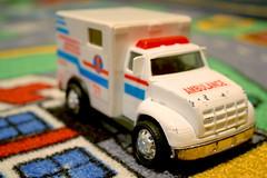 SOMEONE CALL AN AMBULANCE? (LISA M G) Tags: blue red white canon toys eos rebel xt 911 ambulance emergency 1on1colorfulphotooftheday 1on1colorfulphotoofthedaymar2007 twtmesh90735 cityrug