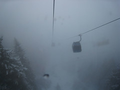 Skilifts in the mist.