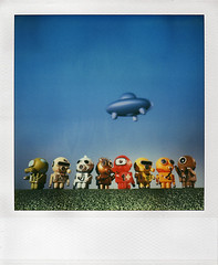 Invasion Part 2 (tubes.) Tags: sky grass studio polaroid sx70 toys vinyl artificial ufo aliens turf timezero hazmapo
