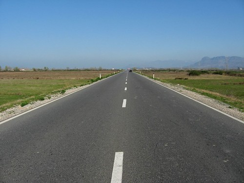 Straight roads near Shkoder, Albania)