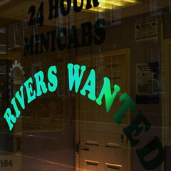 rivers wanted (chutney bannister) Tags: green london window sign square words missing display error badsign letter spelling guesswherelondon 24hour londonist minicabs gwl riverswanted guessedbyctrlf5