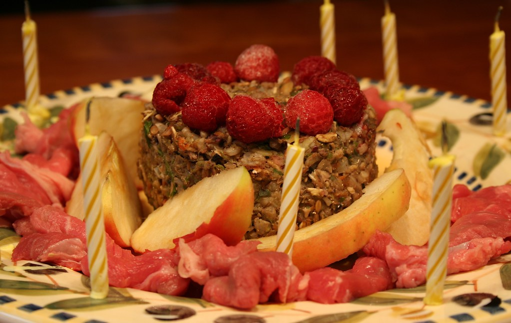 Birthday Cake with Steak, Apples, Raspberries and Salad