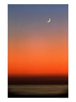 Quarter-Moon-in-Sunset-Sky-Over-Ocean-Photographic-Print-C11900999