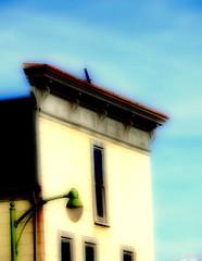 The Old West  Facade (hurleygurley) Tags: california blue windows sky painterly west green home facade streetlight stock picasa historic mf bo alameda hg pf orton favedset ortoneffect elisabethfeldman faveset mf07 alamedaset ortonset