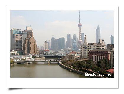 上海郵政博屋頂上往黃浦江方向看