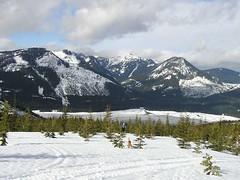 Hiker Jim entering clear cut area - Lake Keechelus Hyak, Silver, Catherine as backdrop