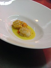 capasanta brasata e foie gras marinato nel Caol Ila...