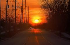 Equinox (norjam8) Tags: road street sunset red orange sun cars yellow telephone utility headlights astronomy poles vernal hdr equinox splendiferous 5xp abigfave norjam8 imgp5168hpp1f
