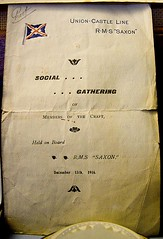 "Notice: ""Social Gathering of Members of The Craft, held on board RMS Saxon, Dec 15, 1916"" - by chrisjohnbeckett"