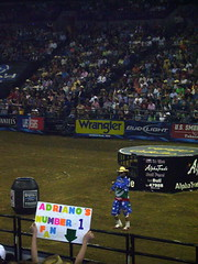 """Adriano's Fan"" (.emily.) Tags: ford sign fence poster fan dance nebraska funny dancing audience clown crowd barrel dancer bull dirt pbr omaha entertainer performer flint bullriding 2007 entertaining qwestcenter adrianomoraes flintrasmussen builtfordtoughseries"