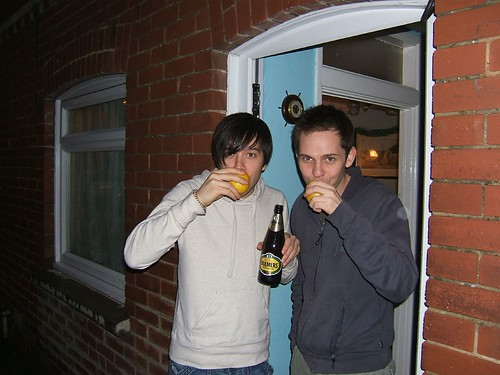 Drinking cider from a lemon, in a house in Devon