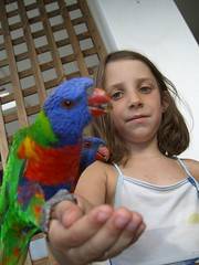 Anna with Lorikeets