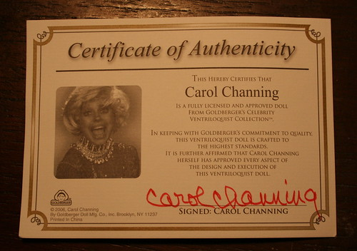 Carol Channing Certificate of Authenticity