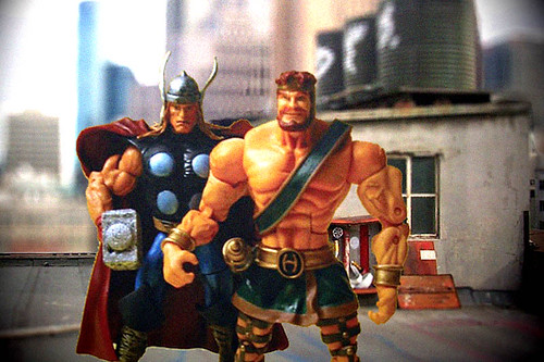 Herc and Thor on Rooftop Photoshop Experiment.