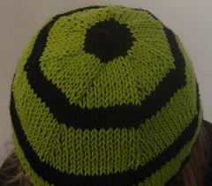 alien colours hat (oranges and apples) Tags: green hat knitting stripy